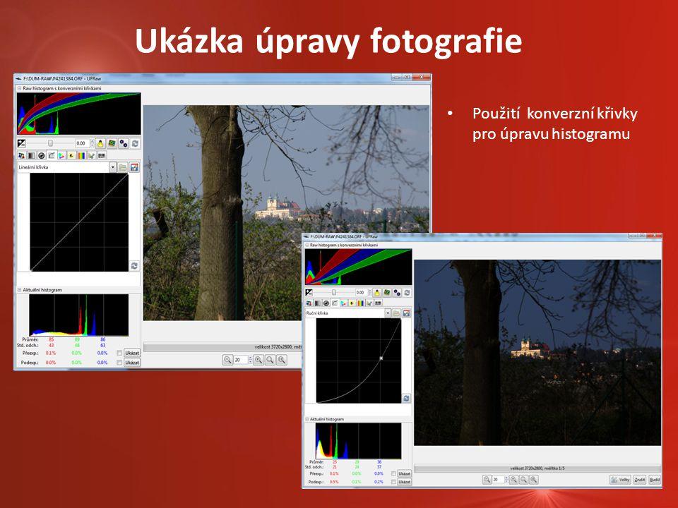Ukázka úpravy fotografie Použití konverzní křivky pro úpravu histogramu