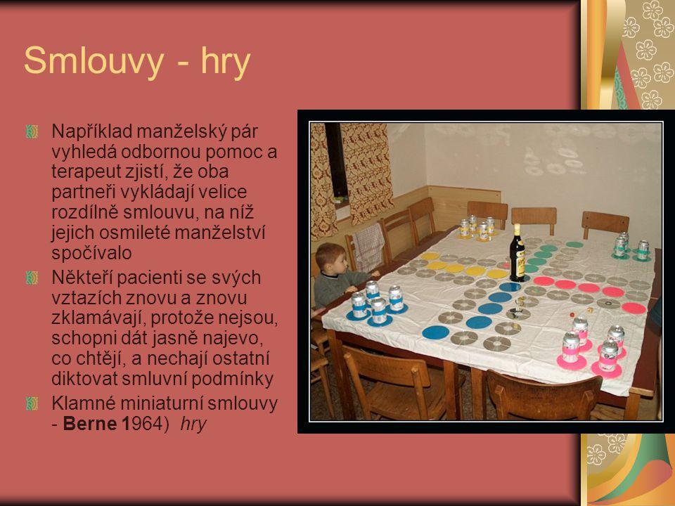 Smlouvy - hry Například manželský pár vyhledá odbornou pomoc a terapeut zjistí, že oba partneři vykládají velice rozdílně smlouvu, na níž jejich osmil