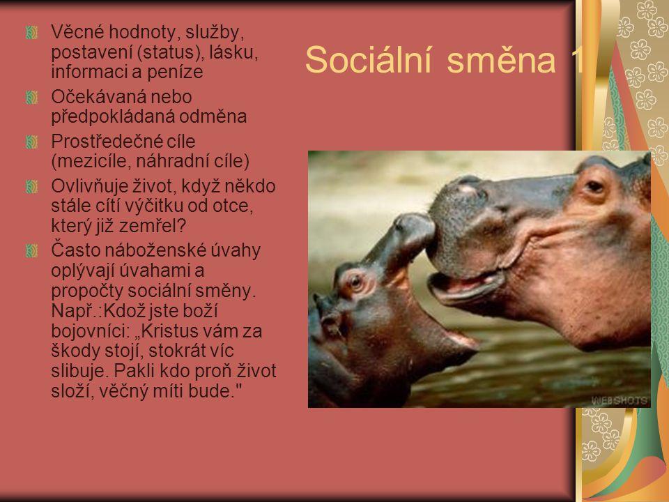 Sociální směna 1 Věcné hodnoty, služby, postavení (status), lásku, informaci a peníze Očekávaná nebo předpokládaná odměna Prostředečné cíle (mezicíle,
