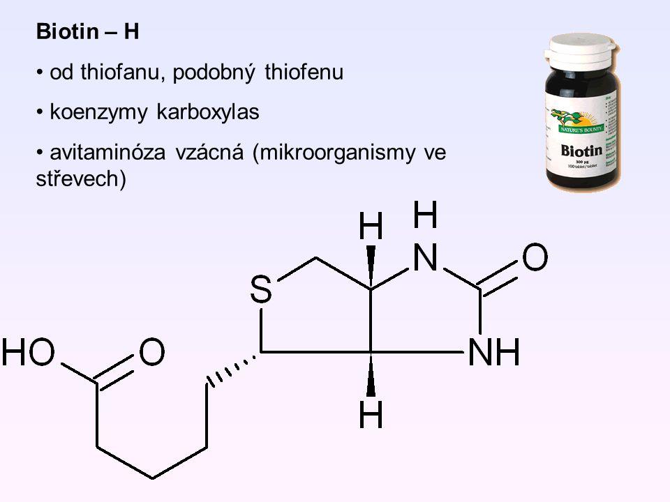 Biotin – H od thiofanu, podobný thiofenu koenzymy karboxylas avitaminóza vzácná (mikroorganismy ve střevech)