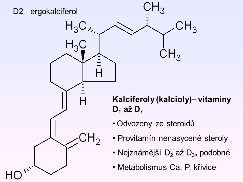 D2 - ergokalciferol Kalciferoly (kalcioly)– vitamíny D 1 až D 7 Odvozeny ze steroidů Provitamín nenasycené steroly Nejznámější D 2 až D 3, podobné Met