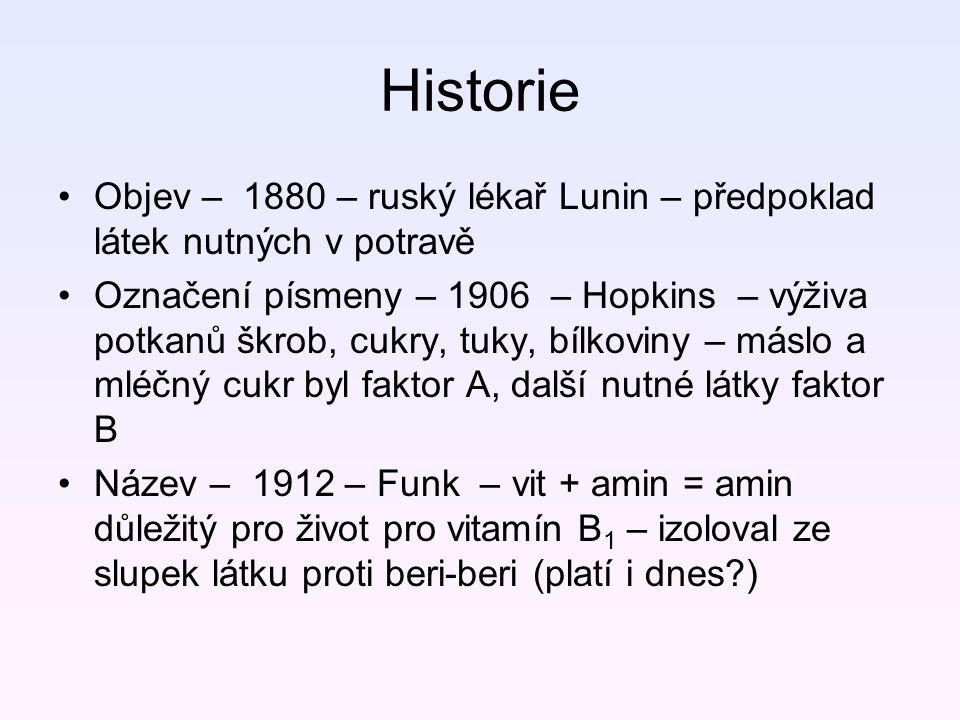 Historie Objev – 1880 – ruský lékař Lunin – předpoklad látek nutných v potravě Označení písmeny – 1906 – Hopkins – výživa potkanů škrob, cukry, tuky,