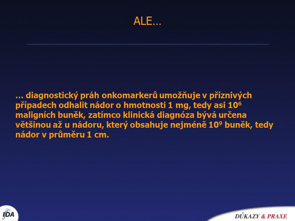 ALE… … diagnostický práh onkomarkerů umožňuje v příznivých případech odhalit nádor o hmotnosti 1 mg, tedy asi 10 6 maligních buněk, zatímco klinická d