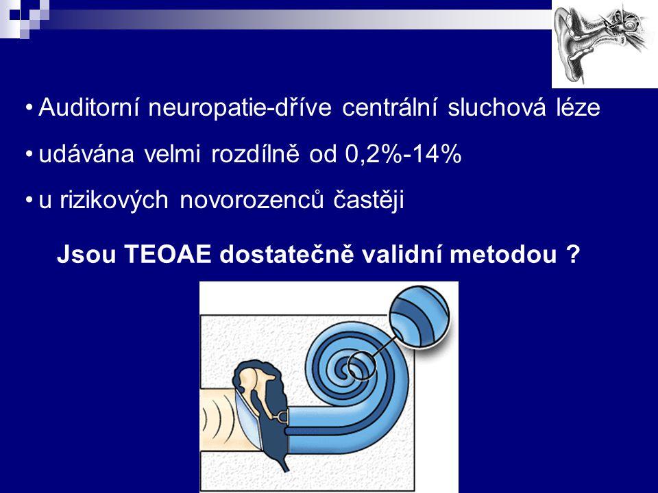 Jsou TEOAE dostatečně validní metodou ? Auditorní neuropatie-dříve centrální sluchová léze udávána velmi rozdílně od 0,2%-14% u rizikových novorozenců
