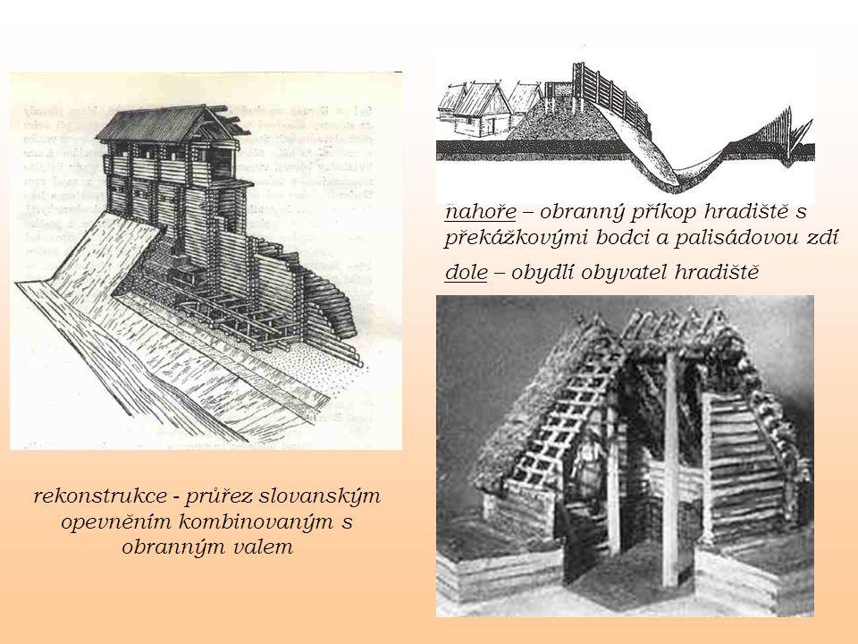 rekonstrukce - průřez slovanským opevněním kombinovaným s obranným valem nahoře – obranný příkop hradiště s překážkovými bodci a palisádovou zdí dole