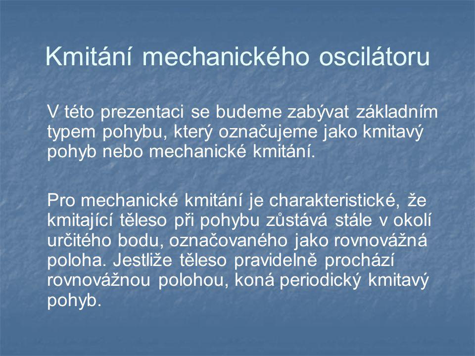 Kmitání mechanického oscilátoru V této prezentaci se budeme zabývat základním typem pohybu, který označujeme jako kmitavý pohyb nebo mechanické kmitání.