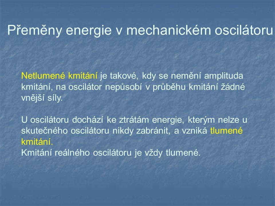 Netlumené kmitání je takové, kdy se nemění amplituda kmitání, na oscilátor nepůsobí v průběhu kmitání žádné vnější síly.