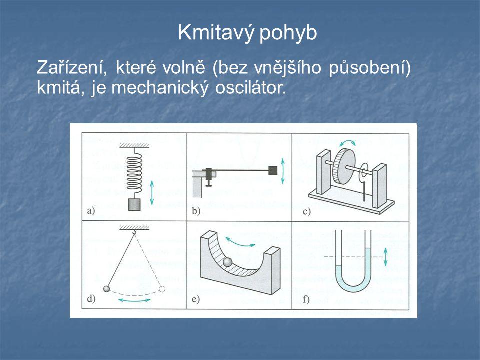 Kmitavý pohyb Zařízení, které volně (bez vnějšího působení) kmitá, je mechanický oscilátor.