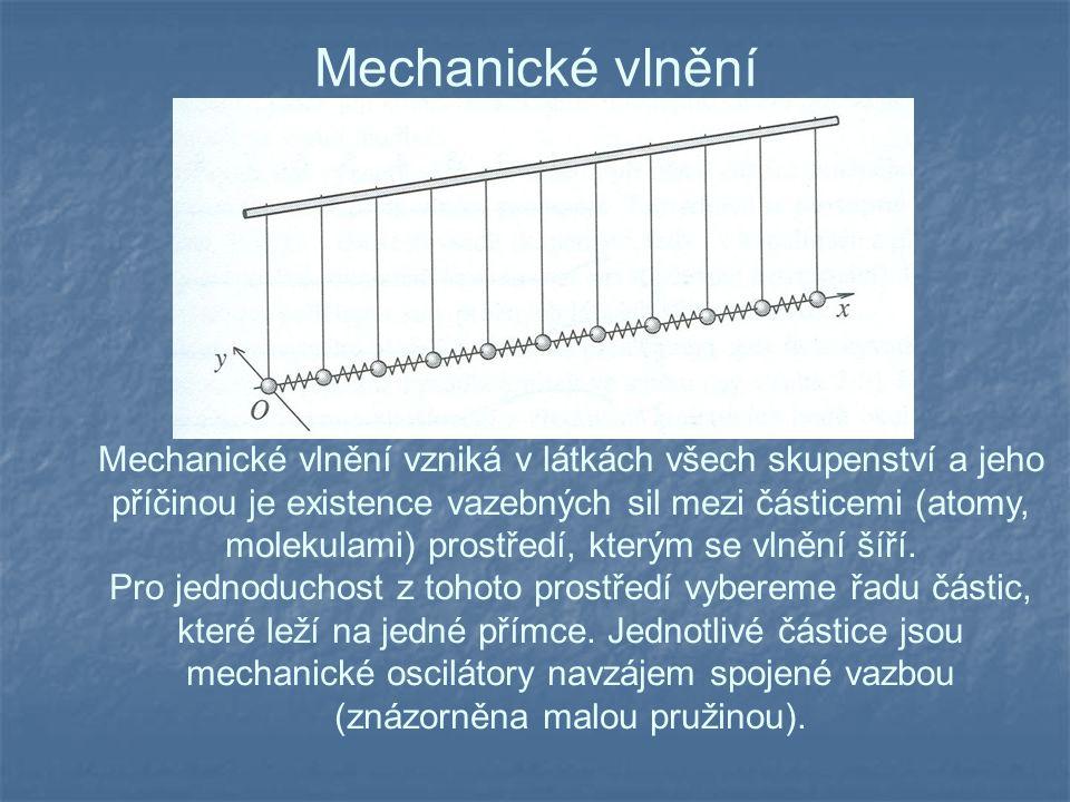 Mechanické vlnění Mechanické vlnění vzniká v látkách všech skupenství a jeho příčinou je existence vazebných sil mezi částicemi (atomy, molekulami) prostředí, kterým se vlnění šíří.