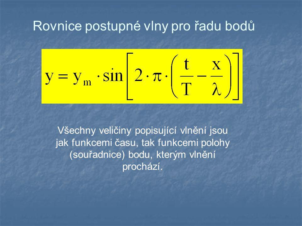 Rovnice postupné vlny pro řadu bodů Všechny veličiny popisující vlnění jsou jak funkcemi času, tak funkcemi polohy (souřadnice) bodu, kterým vlnění prochází.