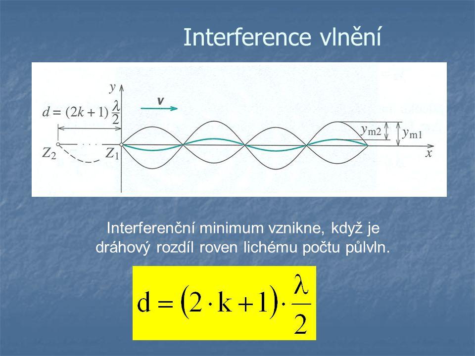 Interference vlnění Interferenční minimum vznikne, když je dráhový rozdíl roven lichému počtu půlvln.