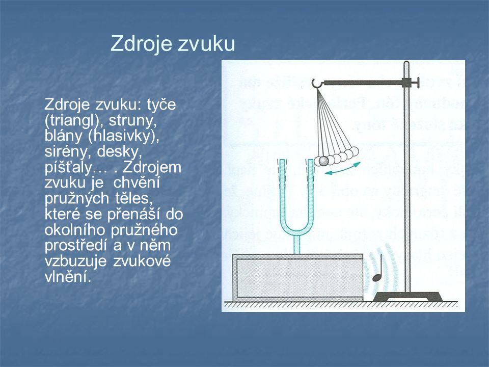 Zdroje zvuku Zdroje zvuku: tyče (triangl), struny, blány (hlasivky), sirény, desky, píšťaly….
