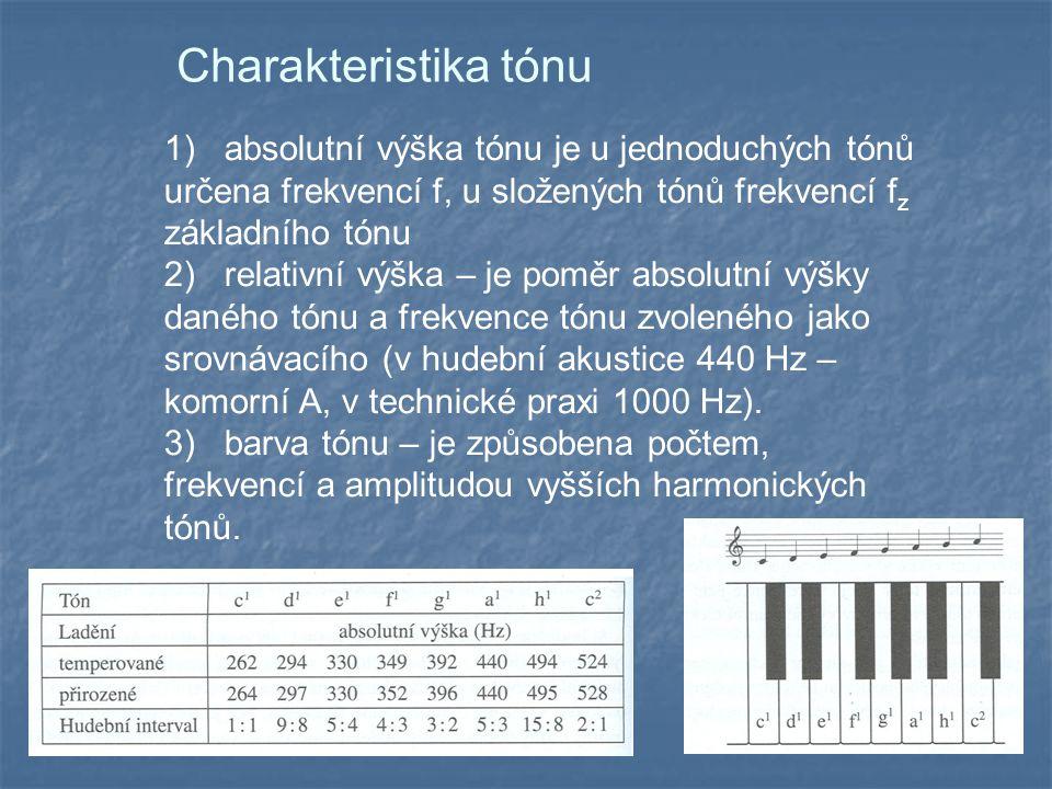 Charakteristika tónu 1) absolutní výška tónu je u jednoduchých tónů určena frekvencí f, u složených tónů frekvencí f z základního tónu 2) relativní výška – je poměr absolutní výšky daného tónu a frekvence tónu zvoleného jako srovnávacího (v hudební akustice 440 Hz – komorní A, v technické praxi 1000 Hz).