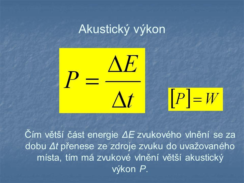 Akustický výkon Čím větší část energie ΔE zvukového vlnění se za dobu Δt přenese ze zdroje zvuku do uvažovaného místa, tím má zvukové vlnění větší akustický výkon P.