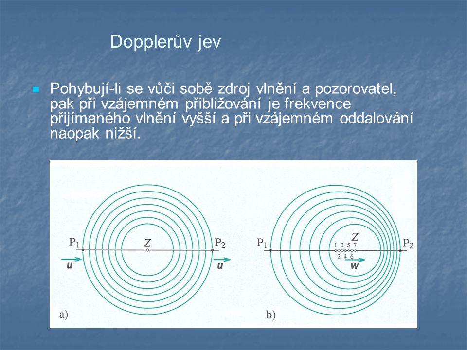 Dopplerův jev Pohybují-li se vůči sobě zdroj vlnění a pozorovatel, pak při vzájemném přibližování je frekvence přijímaného vlnění vyšší a při vzájemném oddalování naopak nižší.