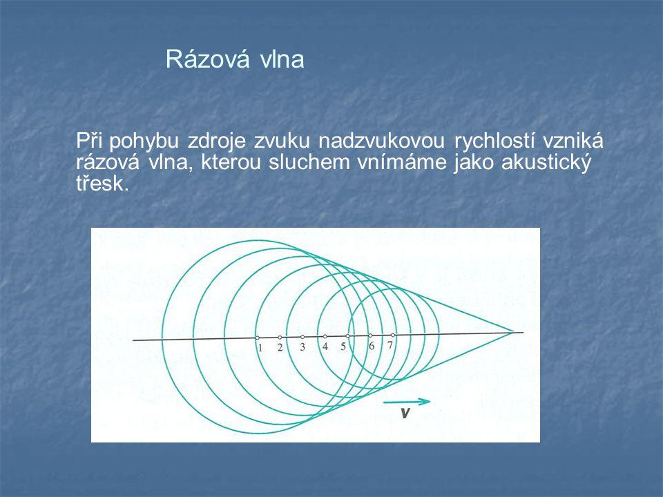 Rázová vlna Při pohybu zdroje zvuku nadzvukovou rychlostí vzniká rázová vlna, kterou sluchem vnímáme jako akustický třesk.