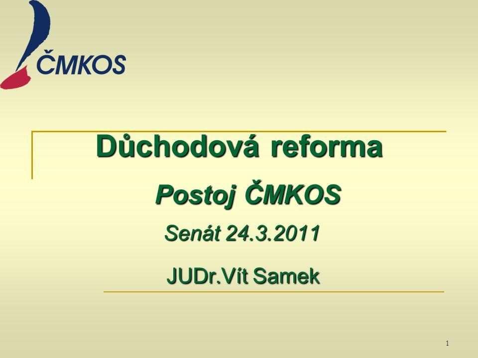 Důchodová reforma Postoj ČMKOS Senát 24.3.2011 JUDr.Vít Samek 1