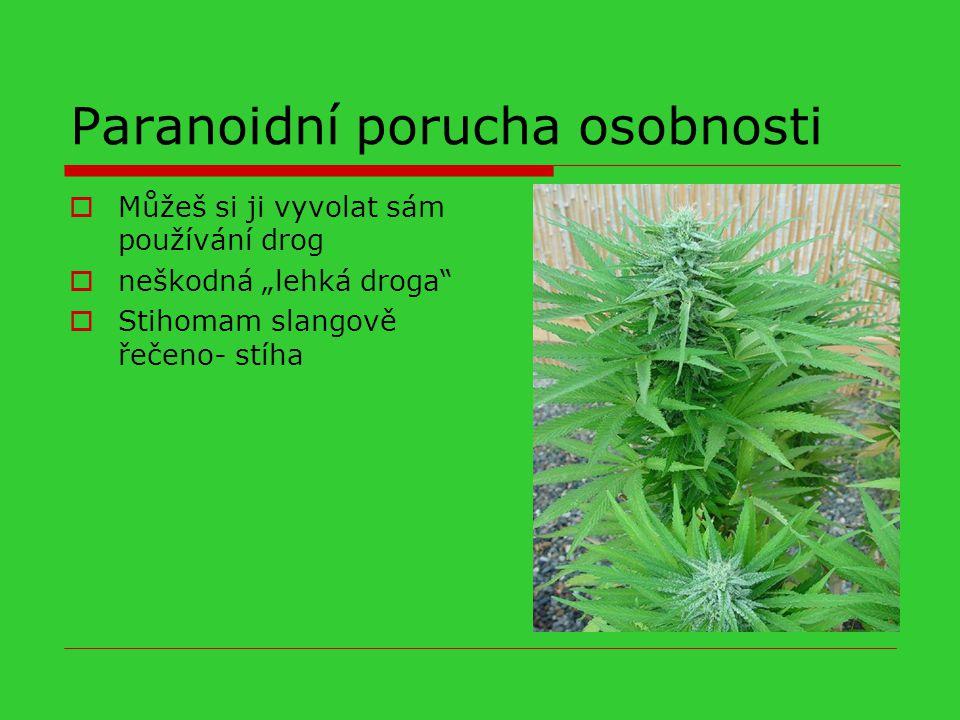 """Paranoidní porucha osobnosti  Můžeš si ji vyvolat sám používání drog  neškodná """"lehká droga""""  Stihomam slangově řečeno- stíha"""