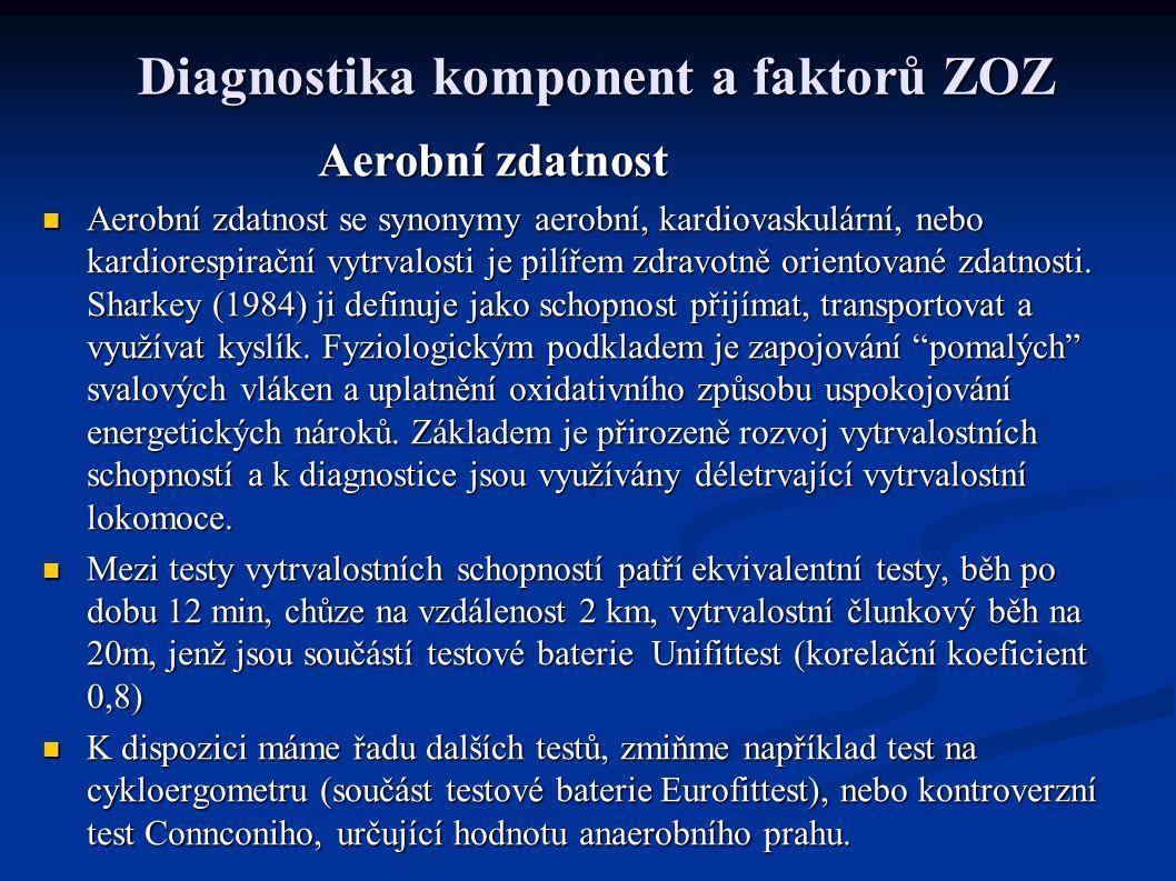 Diagnostika komponent a faktorů ZOZ Aerobní zdatnost Aerobní zdatnost Aerobní zdatnost se synonymy aerobní, kardiovaskulární, nebo kardiorespirační vy