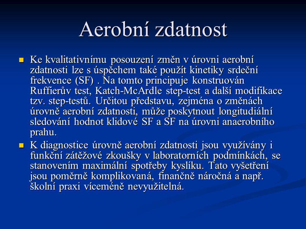 Aerobní zdatnost Ke kvalitativnímu posouzení změn v úrovni aerobní zdatnosti lze s úspěchem také použít kinetiky srdeční frekvence (SF). Na tomto prin