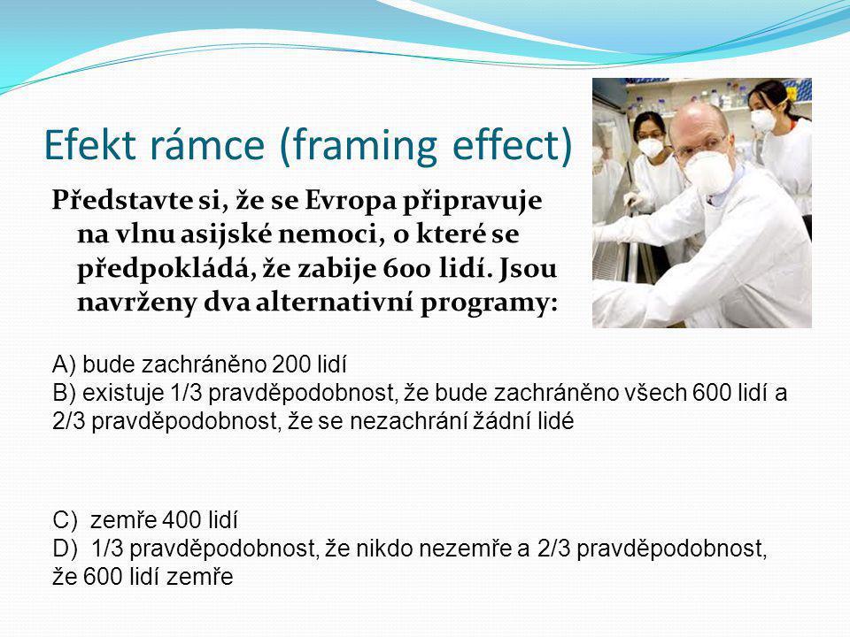Efekt rámce (framing effect) Představte si, že se Evropa připravuje na vlnu asijské nemoci, o které se předpokládá, že zabije 600 lidí. Jsou navrženy
