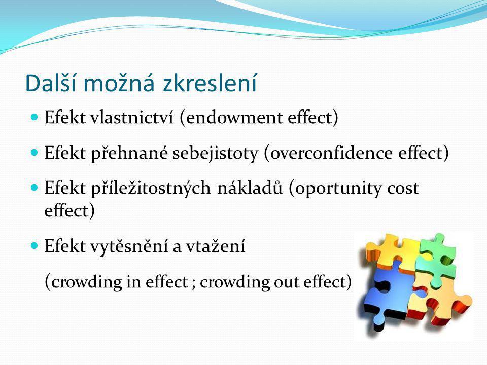 Další možná zkreslení Efekt vlastnictví (endowment effect) Efekt přehnané sebejistoty (overconfidence effect) Efekt příležitostných nákladů (oportunit