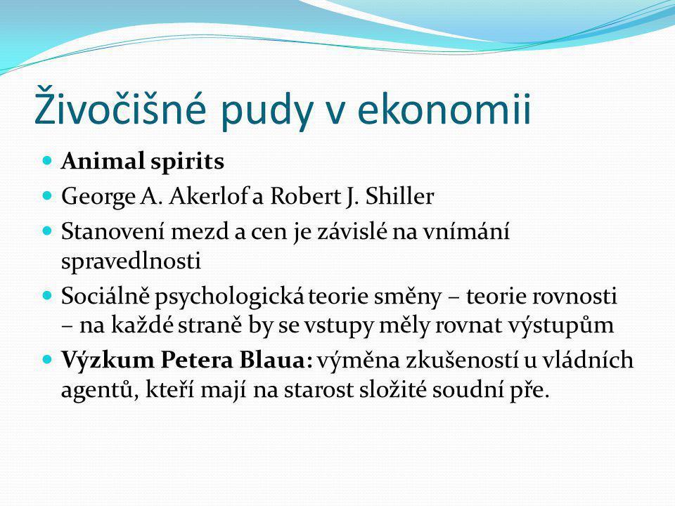 Živočišné pudy v ekonomii Animal spirits George A. Akerlof a Robert J. Shiller Stanovení mezd a cen je závislé na vnímání spravedlnosti Sociálně psych