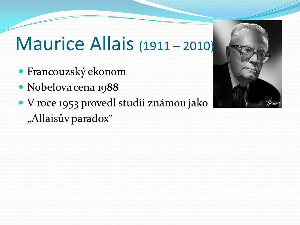 "Maurice Allais (1911 – 2010) Francouzský ekonom Nobelova cena 1988 V roce 1953 provedl studii známou jako ""Allaisův paradox"""