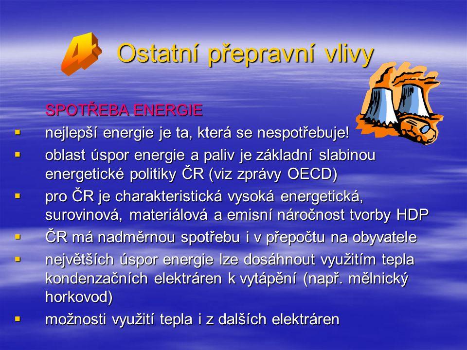 Ostatní přepravní vlivy SPOTŘEBA ENERGIE  nejlepší energie je ta, která se nespotřebuje.