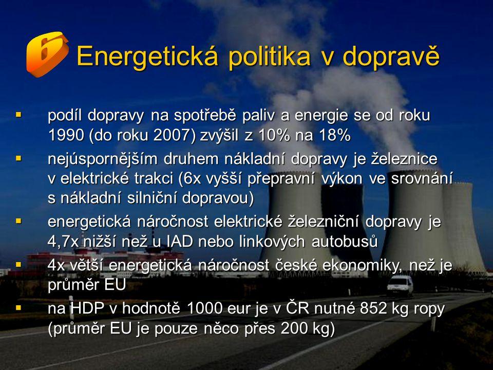 Energetická politika v dopravě  podíl dopravy na spotřebě paliv a energie se od roku 1990 (do roku 2007) zvýšil z 10% na 18%  nejúspornějším druhem nákladní dopravy je železnice v elektrické trakci (6x vyšší přepravní výkon ve srovnání s nákladní silniční dopravou)  energetická náročnost elektrické železniční dopravy je 4,7x nižší než u IAD nebo linkových autobusů  4x větší energetická náročnost české ekonomiky, než je průměr EU  na HDP v hodnotě 1000 eur je v ČR nutné 852 kg ropy (průměr EU je pouze něco přes 200 kg)