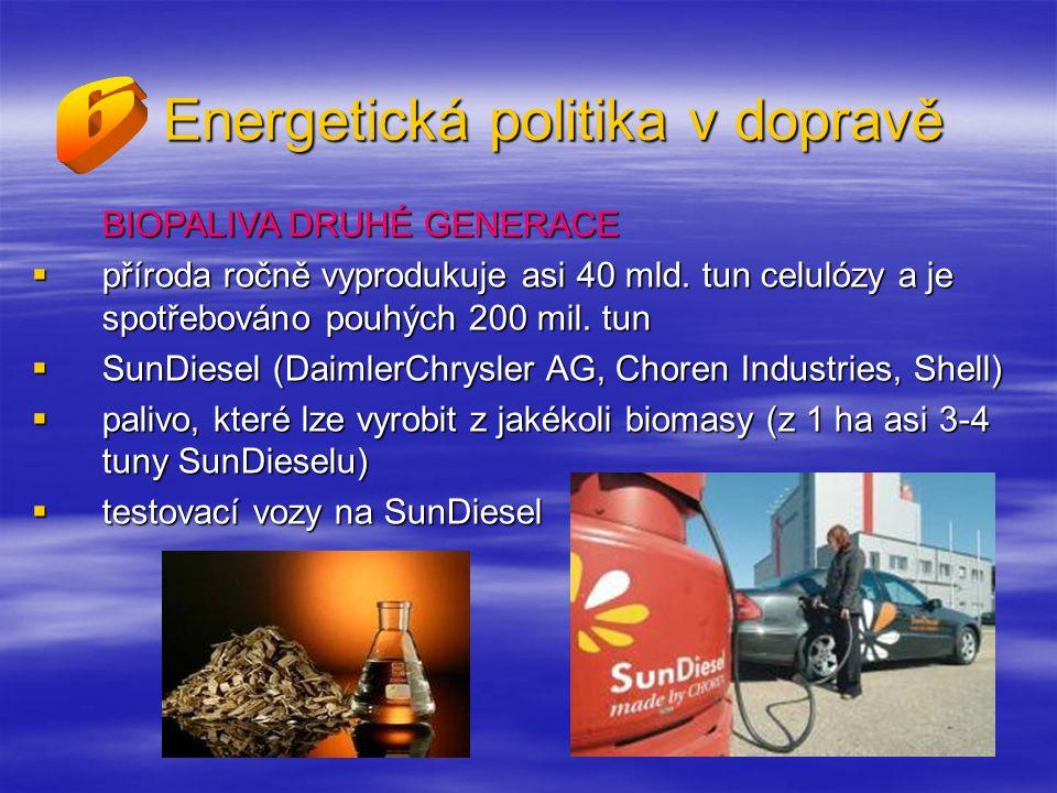 Energetická politika v dopravě BIOPALIVA DRUHÉ GENERACE  příroda ročně vyprodukuje asi 40 mld.