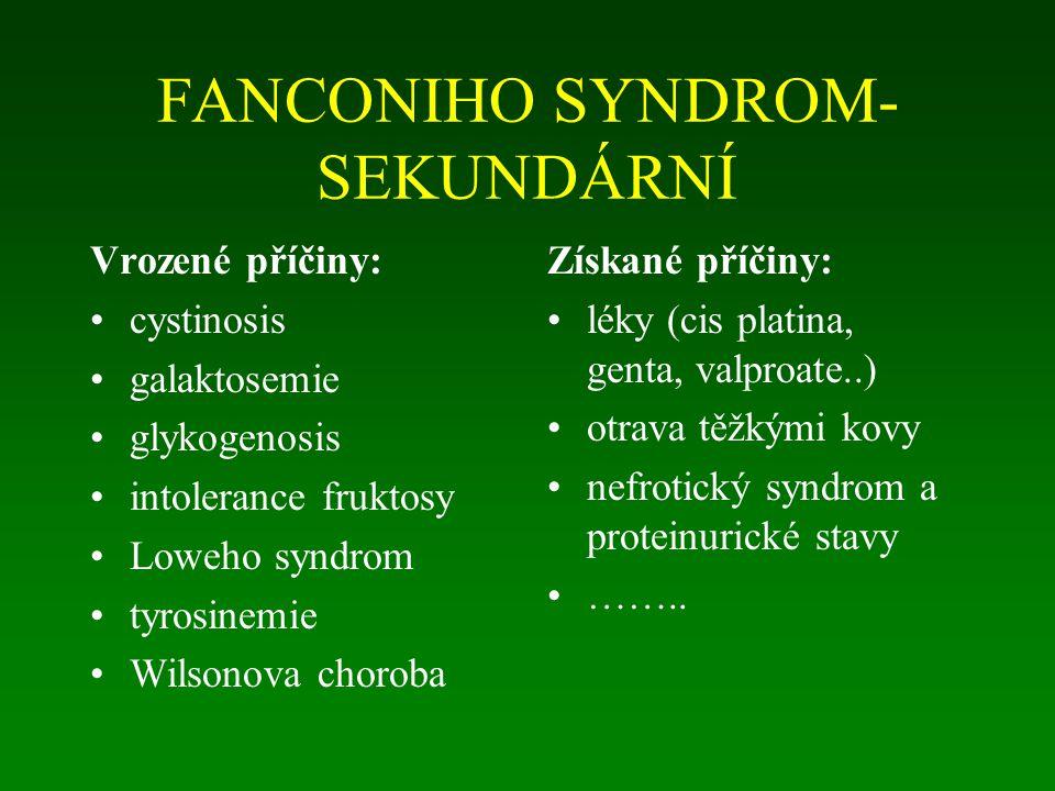FANCONIHO SYNDROM- SEKUNDÁRNÍ Vrozené příčiny: cystinosis galaktosemie glykogenosis intolerance fruktosy Loweho syndrom tyrosinemie Wilsonova choroba