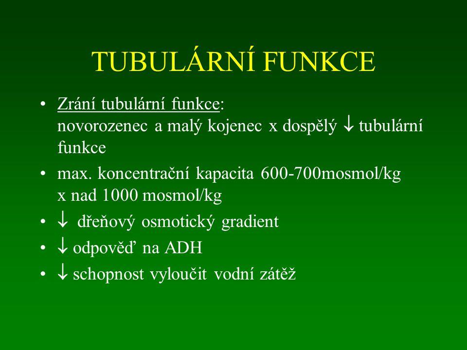 TUBULÁRNÍ FUNKCE Zrání tubulární funkce: novorozenec a malý kojenec x dospělý  tubulární funkce max. koncentrační kapacita 600-700mosmol/kg x nad 100