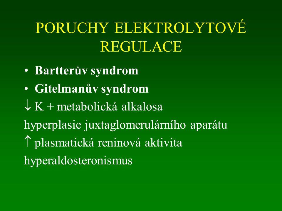 PORUCHY ELEKTROLYTOVÉ REGULACE Bartterův syndrom Gitelmanův syndrom  K + metabolická alkalosa hyperplasie juxtaglomerulárního aparátu  plasmatická reninová aktivita hyperaldosteronismus