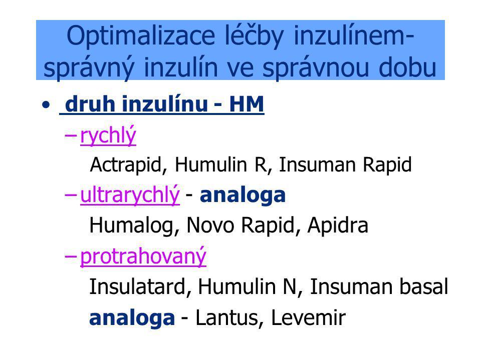 Optimalizace léčby inzulínem- správný inzulín ve správnou dobu druh inzulínu - HM –rychlý Actrapid, Humulin R, Insuman Rapid –ultrarychlý - analoga Humalog, Novo Rapid, Apidra –protrahovaný Insulatard, Humulin N, Insuman basal analoga - Lantus, Levemir