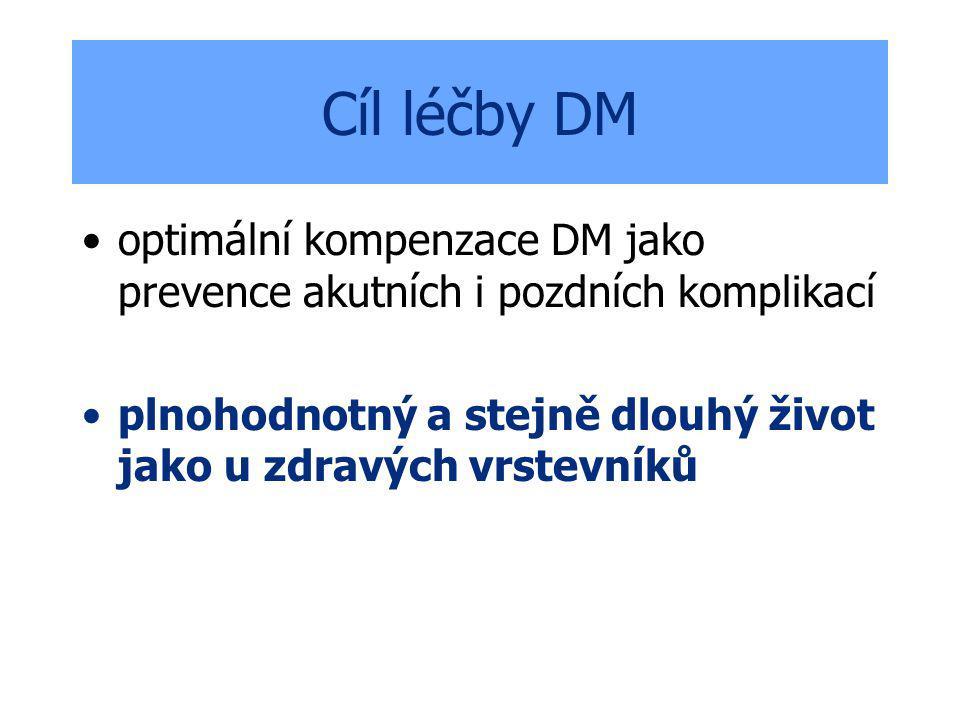Cíl léčby DM optimální kompenzace DM jako prevence akutních i pozdních komplikací plnohodnotný a stejně dlouhý život jako u zdravých vrstevníků