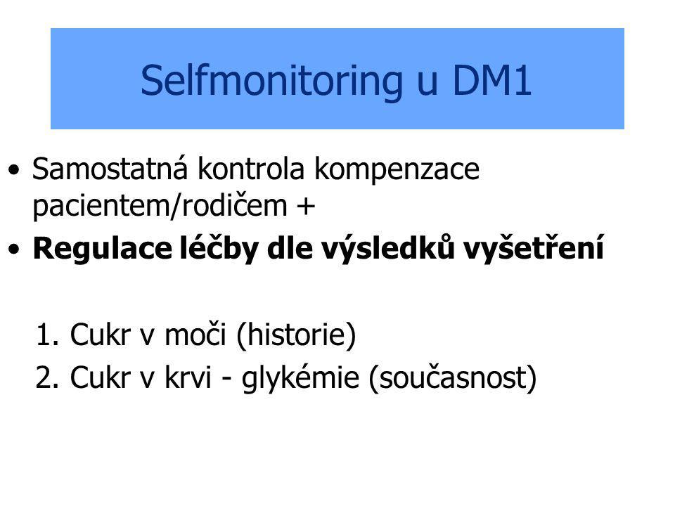 Selfmonitoring u DM1 Samostatná kontrola kompenzace pacientem/rodičem + Regulace léčby dle výsledků vyšetření 1. Cukr v moči (historie) 2. Cukr v krvi