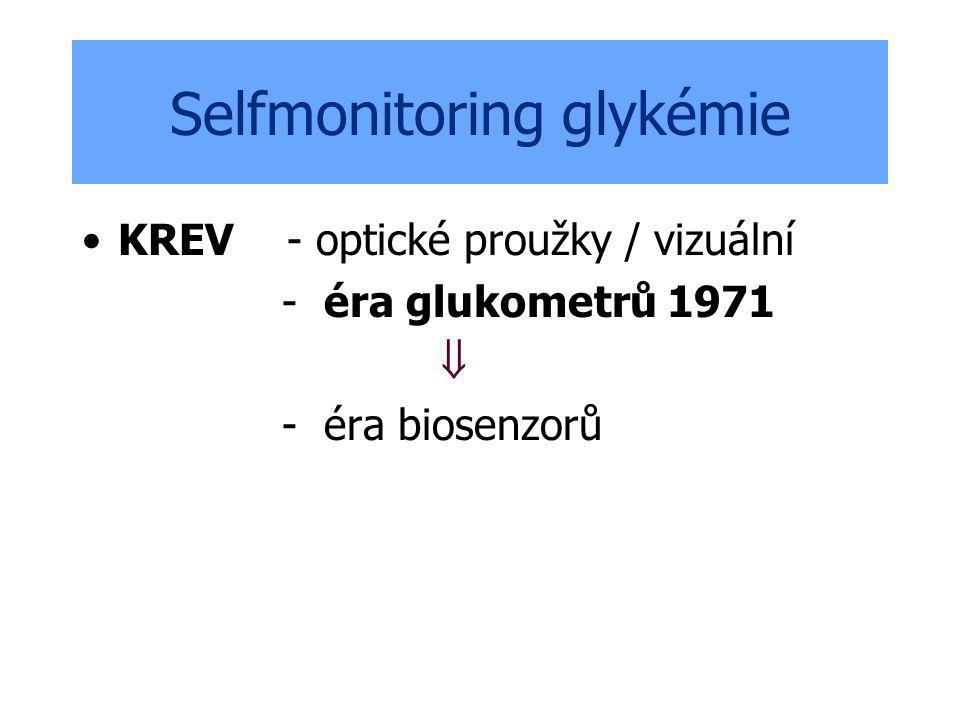 Selfmonitoring glykémie KREV - optické proužky / vizuální - éra glukometrů 1971  - éra biosenzorů