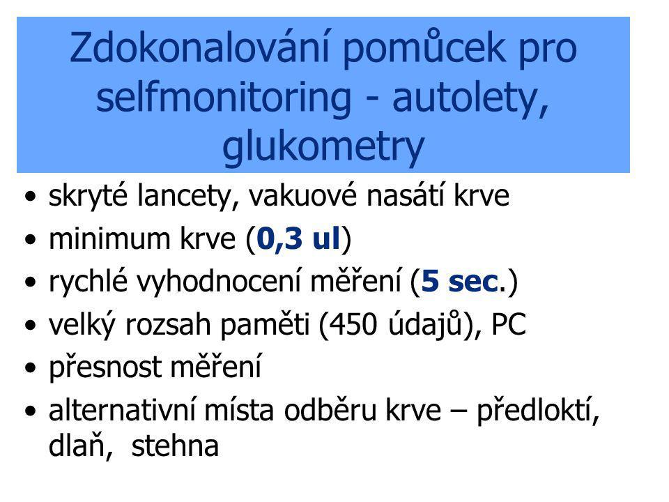 Zdokonalování pomůcek pro selfmonitoring - autolety, glukometry skryté lancety, vakuové nasátí krve minimum krve (0,3 ul) rychlé vyhodnocení měření (5
