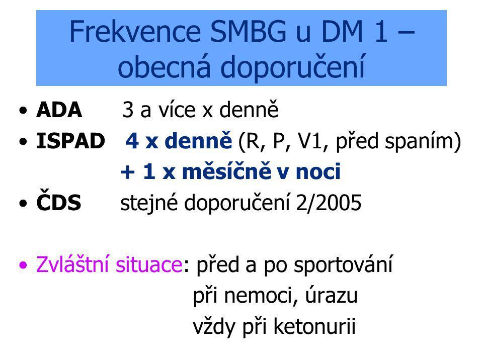 Frekvence SMBG u DM 1 – obecná doporučení ADA 3 a více x denně ISPAD 4 x denně (R, P, V1, před spaním) + 1 x měsíčně v noci ČDS stejné doporučení 2/2005 Zvláštní situace: před a po sportování při nemoci, úrazu vždy při ketonurii