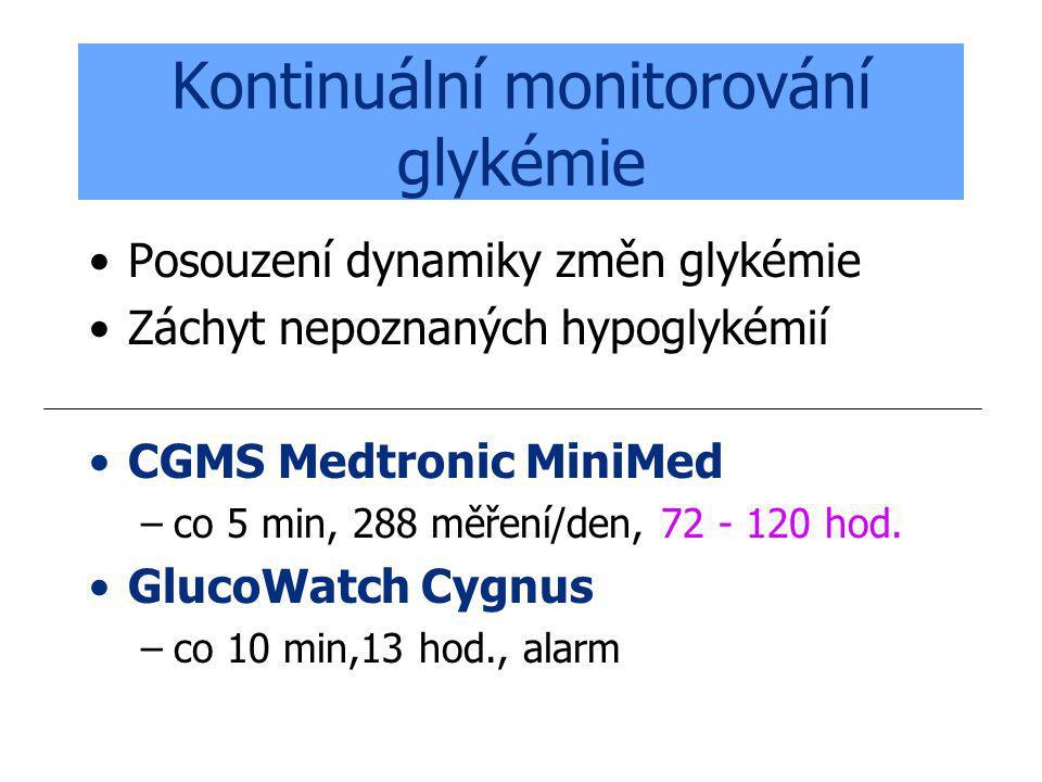 Kontinuální monitorování glykémie Posouzení dynamiky změn glykémie Záchyt nepoznaných hypoglykémií CGMS Medtronic MiniMed –co 5 min, 288 měření/den, 7
