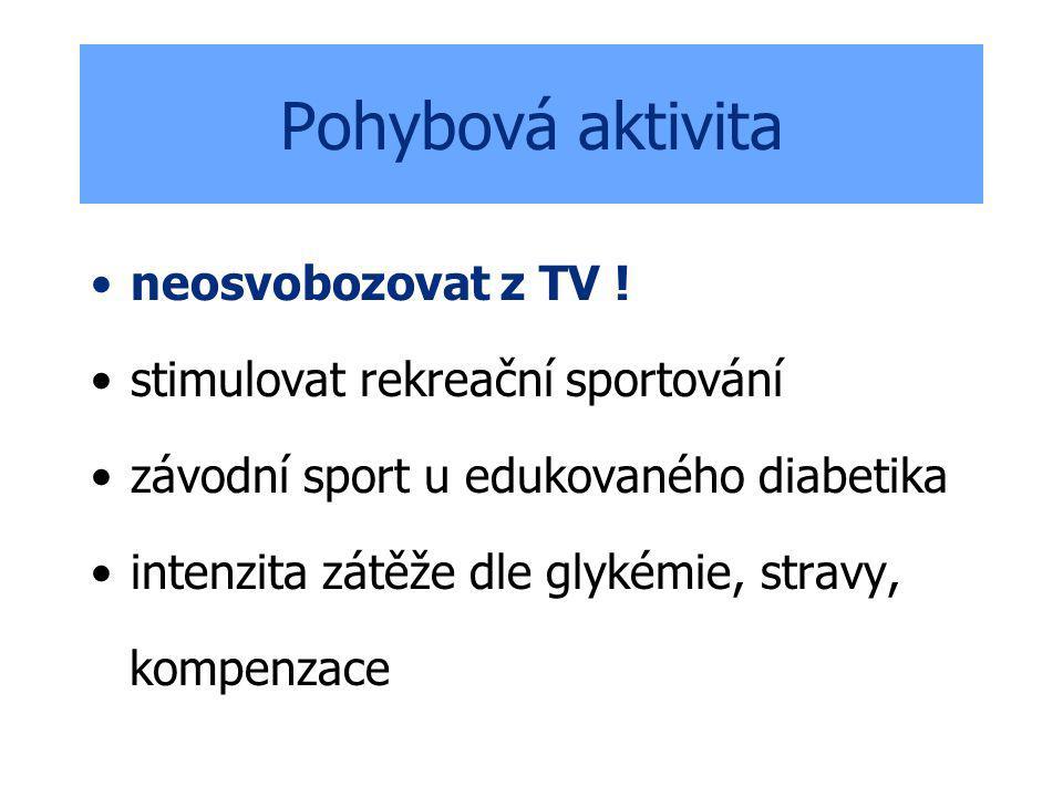 Pohybová aktivita neosvobozovat z TV ! stimulovat rekreační sportování závodní sport u edukovaného diabetika intenzita zátěže dle glykémie, stravy, ko