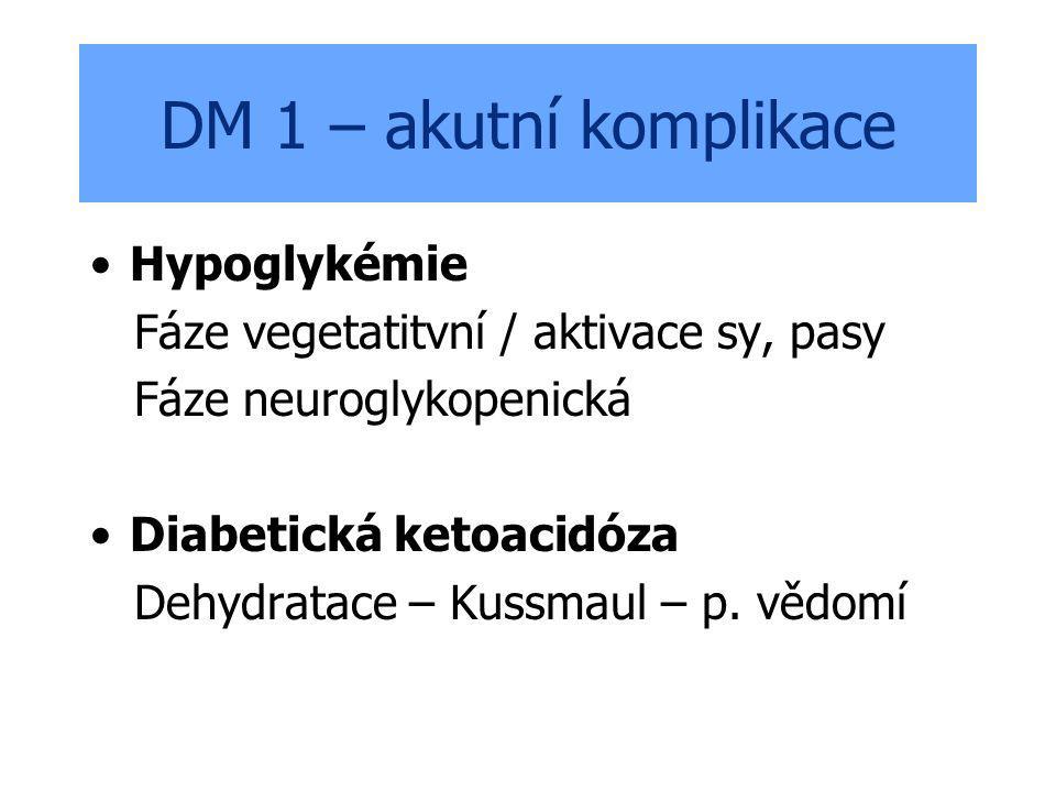 DM 1 – akutní komplikace Hypoglykémie Fáze vegetatitvní / aktivace sy, pasy Fáze neuroglykopenická Diabetická ketoacidóza Dehydratace – Kussmaul – p.