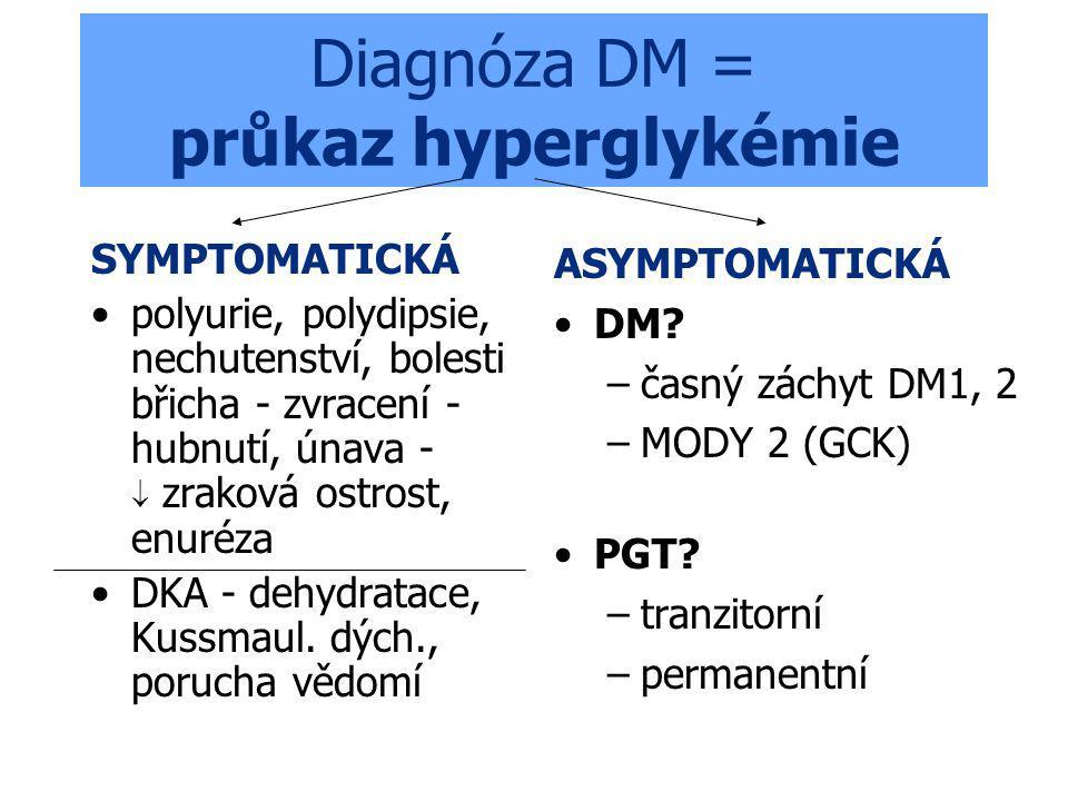 Diagnóza DM = průkaz hyperglykémie SYMPTOMATICKÁ polyurie, polydipsie, nechutenství, bolesti břicha - zvracení - hubnutí, únava -  zraková ostrost, enuréza DKA - dehydratace, Kussmaul.