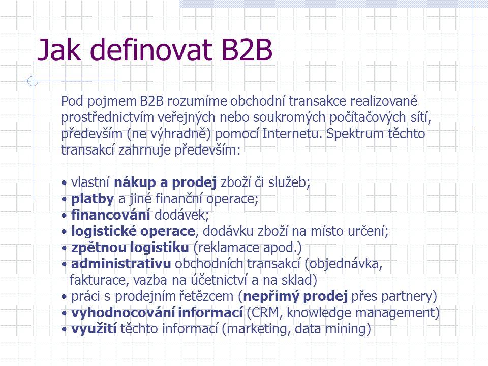 Jak definovat B2B Pod pojmem B2B rozumíme obchodní transakce realizované prostřednictvím veřejných nebo soukromých počítačových sítí, především (ne výhradně) pomocí Internetu.