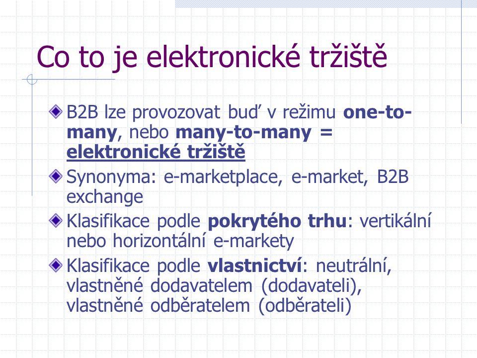 Co to je elektronické tržiště B2B lze provozovat buď v režimu one-to- many, nebo many-to-many = elektronické tržiště Synonyma: e-marketplace, e-market, B2B exchange Klasifikace podle pokrytého trhu: vertikální nebo horizontální e-markety Klasifikace podle vlastnictví: neutrální, vlastněné dodavatelem (dodavateli), vlastněné odběratelem (odběrateli)