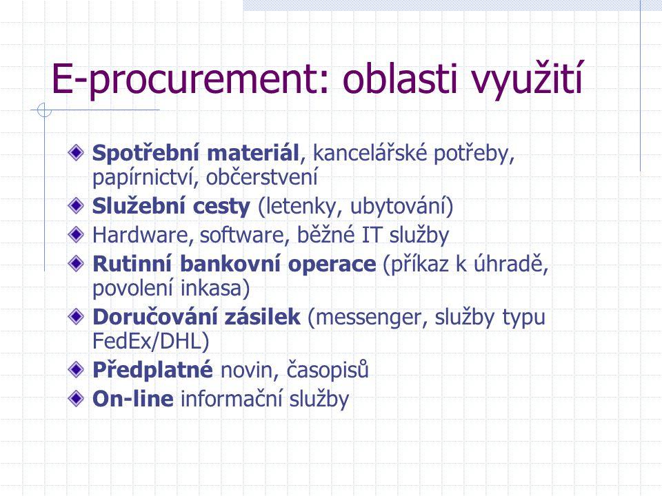 E-procurement: oblasti využití Spotřební materiál, kancelářské potřeby, papírnictví, občerstvení Služební cesty (letenky, ubytování) Hardware, software, běžné IT služby Rutinní bankovní operace (příkaz k úhradě, povolení inkasa) Doručování zásilek (messenger, služby typu FedEx/DHL) Předplatné novin, časopisů On-line informační služby