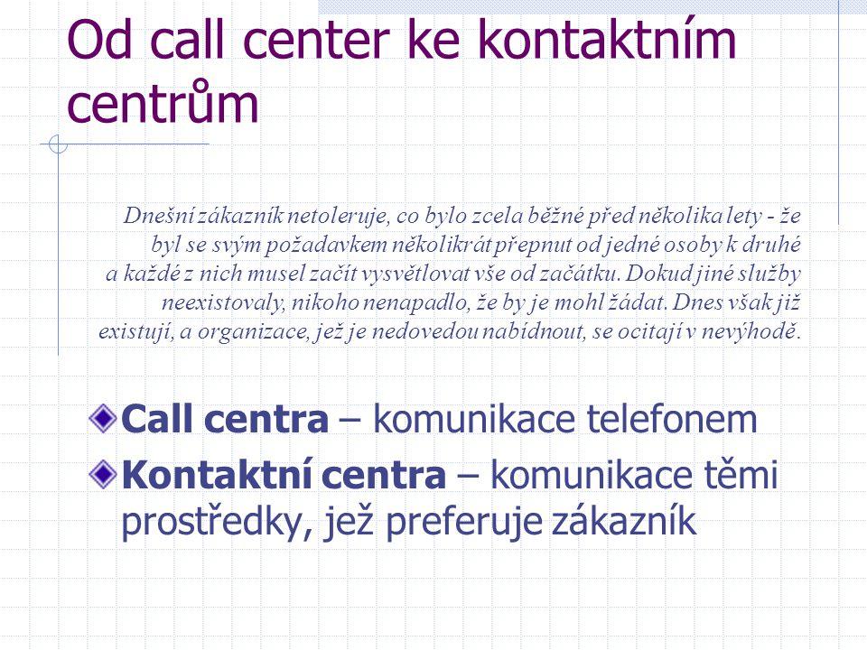 Od call center ke kontaktním centrům Call centra – komunikace telefonem Kontaktní centra – komunikace těmi prostředky, jež preferuje zákazník Dnešní zákazník netoleruje, co bylo zcela běžné před několika lety - že byl se svým požadavkem několikrát přepnut od jedné osoby k druhé a každé z nich musel začít vysvětlovat vše od začátku.