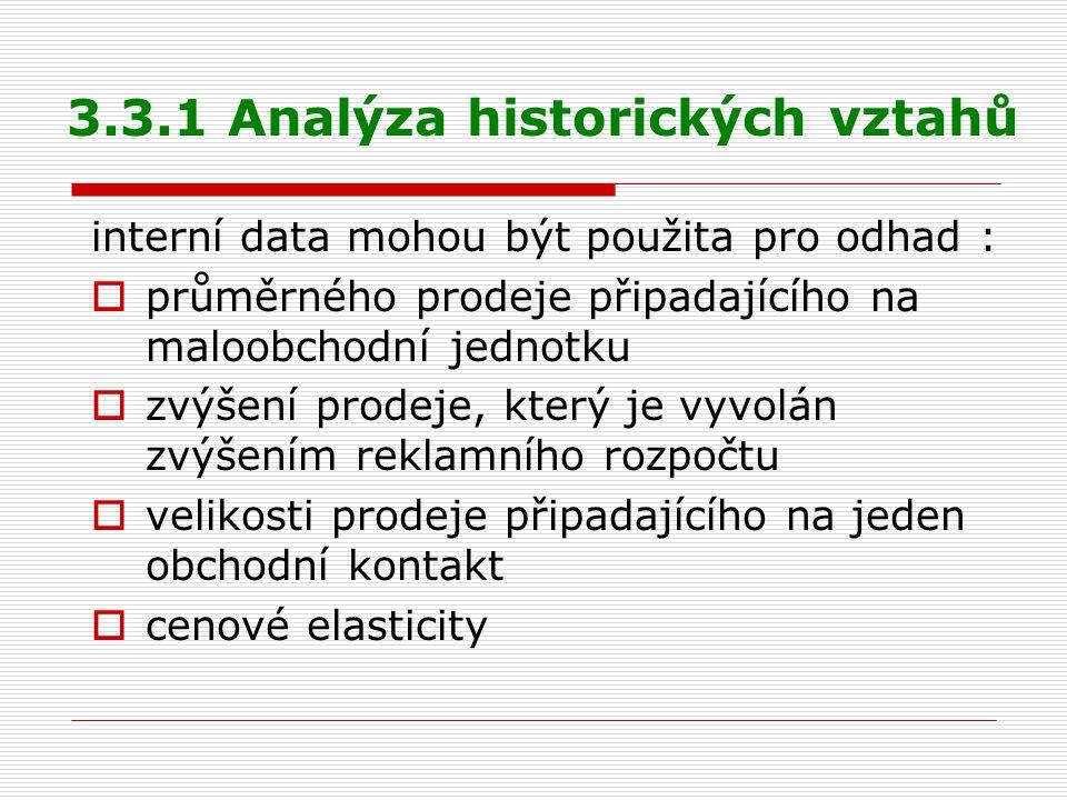 3.3.1 Analýza historických vztahů interní data mohou být použita pro odhad :  průměrného prodeje připadajícího na maloobchodní jednotku  zvýšení pro