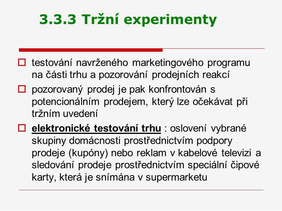 3.3.3 Tržní experimenty  testování navrženého marketingového programu na části trhu a pozorování prodejních reakcí  pozorovaný prodej je pak konfron